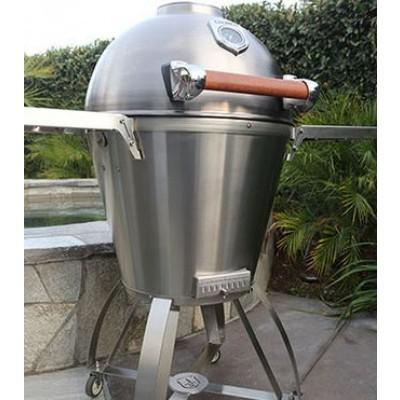 CaliberCaliber 22&quot Stainless Steel Pro Kamado Smoker Grill with Wood Handle