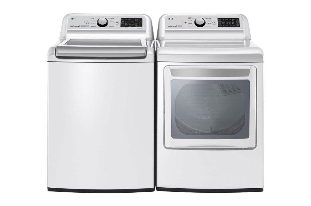 WT7300CW LG 5.0 Cu Ft Top Load Washer DLG7301WE LG 7.3 Cu Ft Gas Smart Dryer White at Universal Appliance and Kitchen Center