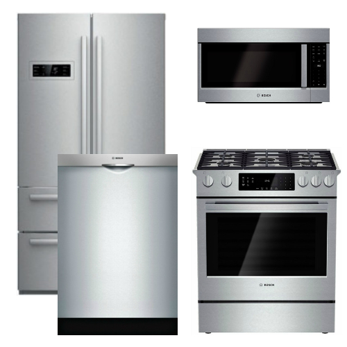 Bosch Appliance - 4 Piece Appliance Package - Counter Depth Refrigerator and Gas Range - Stainless Steel at Universal Appliance and Kitchen Center